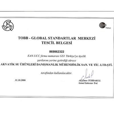 AKUATİK Global EAN Barkod İzin Belgesi