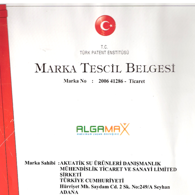 ALGAMAX Marka Tescil Belgesi