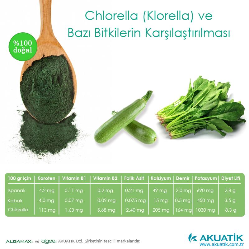 Chlorella Klorella Yosun Ispanak ve Kabakla Bitkilerle Karşılaştırma