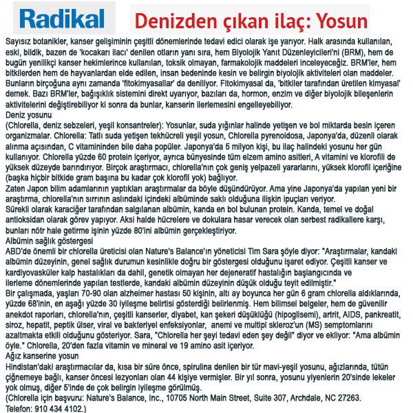 Spirulina Chlorella Klorella Radikal Gazetesi Haberi