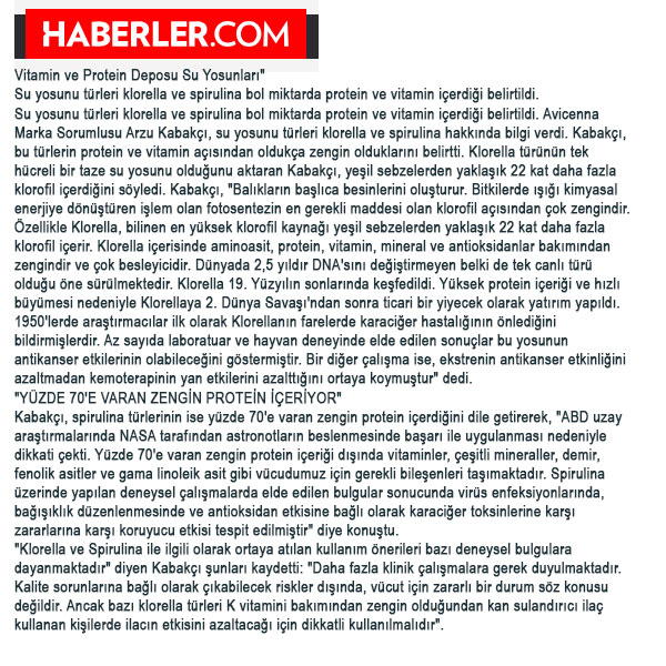 Spirulina Chlorella Klorella Haberler Haberi