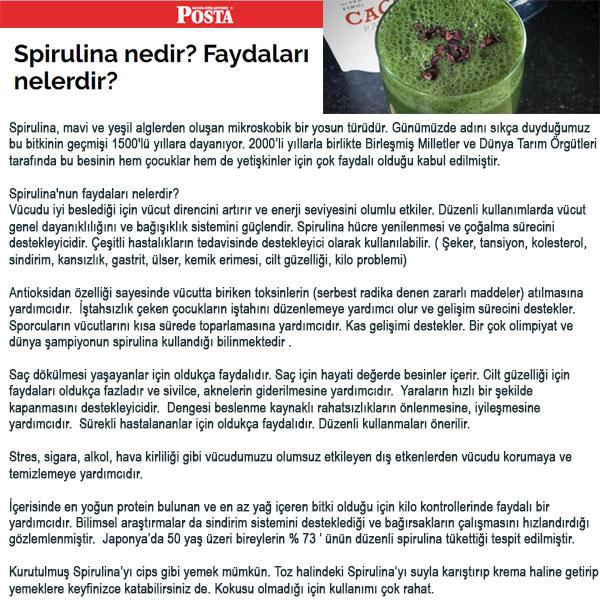 Spirulina Chlorella Klorella Posta Gazetesi Haberi